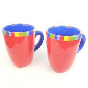 2 Dansk Caribe Antiqua Stripe Handpainted Mugs